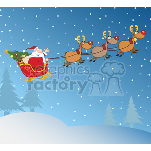 Santa Claus In Flight With His Reindeer And Sleigh In Christmas Night clipart. Royalty-free image # 393607