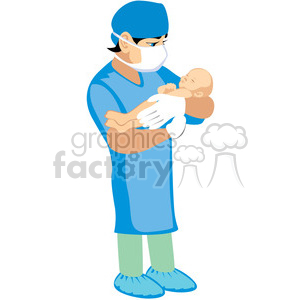 doctor holding newborn baby clipart. Commercial use image # 393658