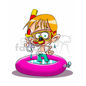 vector child playing in the summer wearing a snorkel clipart. Royalty-free image # 393708
