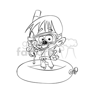 vector child playing in the water wearing a snorkel in black and white clipart. Commercial use image # 393718