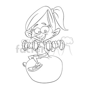 vector fitness instructor cartoon in black and white clipart. Commercial use image # 393728