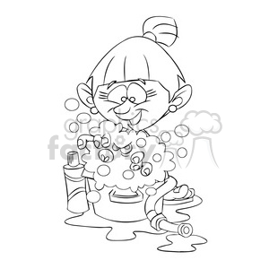 vector girl taking a bath cartoon in black and white
