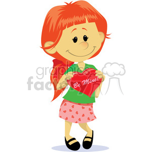 red head girl with valentines candy