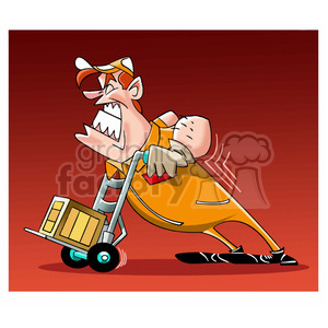 man struggling with a moving dolly clipart. Royalty-free image # 393928