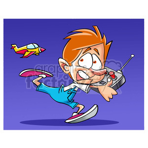 image of boy being chased by radio controlled plane avion a control remoto clipart. Royalty-free image # 393938