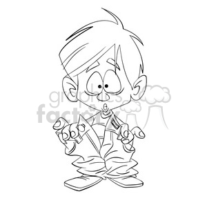 black and white image of boy with big pants to fill talla XL negro clipart. Commercial use image # 393968