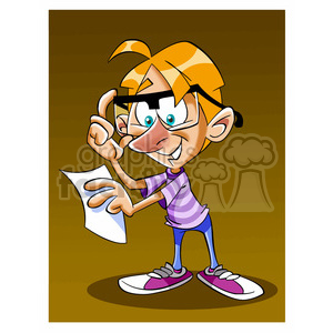 image of kid reading paper nino con anteojos clipart. Commercial use image # 393978