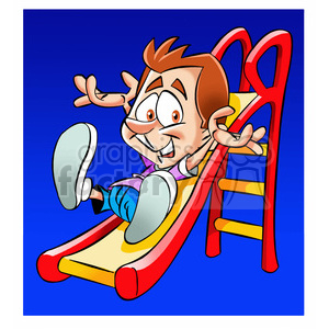 boy sliding down a slide at a playground clipart. Royalty-free image # 393988