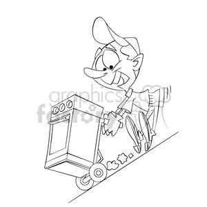 black and white image of moving guy rolling down a hill cargando cocina negro clipart. Commercial use image # 393998