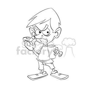 black and white image of kid not wanting to take medicine nino con pastilla negro clipart. Royalty-free image # 394018