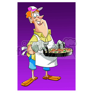 image of man cooking dinner paella clipart. Commercial use image # 394038