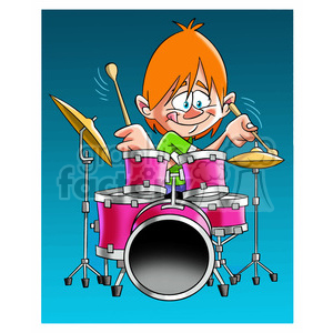 image of boy playing drums clipart. Royalty-free image # 394048