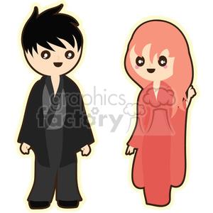 geisha and boy cartoon character illustration