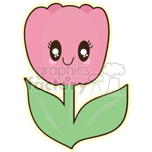 cartoon character cute funny fun happy tulip pink flower flowers