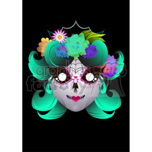 Day of the Dead 6 cartoon character illustration clipart. Commercial use image # 394188