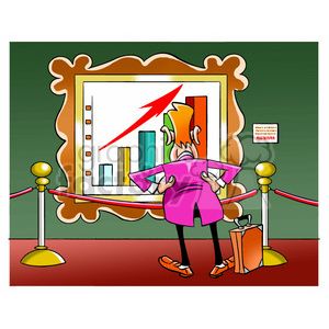 salesman looking at sales chart in museum clipart. Commercial use image # 394228