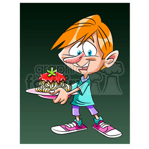 boy holding plate of spaghetti clipart. Royalty-free image # 394263