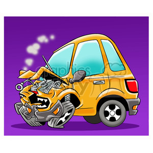 cartoon character people person car auto accident sick ill crash angry