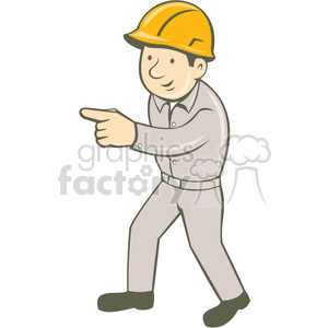 builder construction worker pointing standing