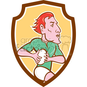 rugby player with ball side SHIELD clipart. Commercial use image # 394349