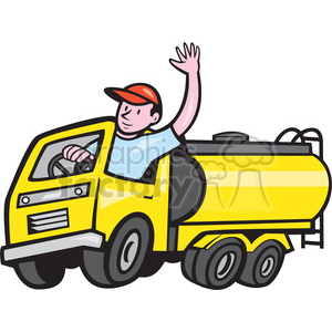 tanker truck driver wave ISO clipart. Royalty-free image # 394359