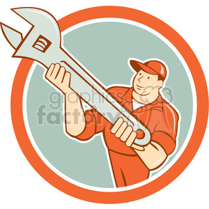 Mechanic presenting spanner CIRC clipart. Commercial use image # 394409