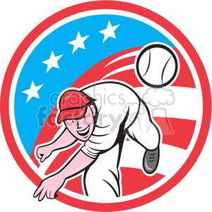 baseball pitcher throwing ball USA FLAG CIRC clipart. Royalty-free image # 394419