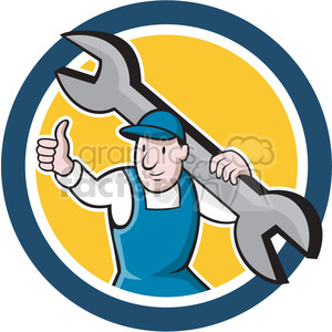 mechanic thumb up front spanner 001 CIRC clipart. Royalty-free icon # 394429