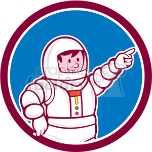 astronaut pointing front CIRC clipart. Royalty-free image # 394449