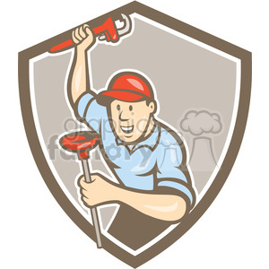 plumber wrench plunger standing frnt SHIELD clipart. Royalty-free image # 394499
