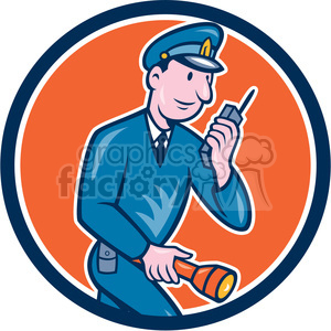 policeman radio torch side CIRC clipart. Commercial use image # 394519