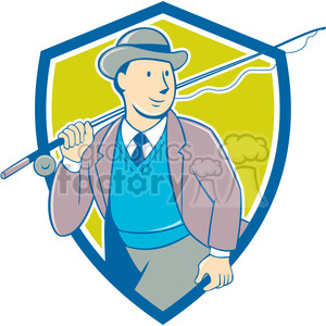 tourist fishing rod SHIELD clipart. Commercial use image # 394529