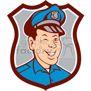 policeman winking front SHIELD clipart. Commercial use image # 394559