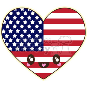 cute cartoon fourth+of+july independance+day america heart love