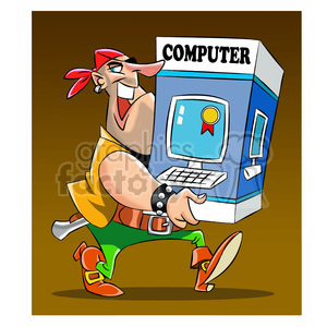 pirate carrying a computer clipart. Royalty-free image # 394749