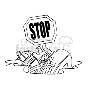 stop littering black and white clipart. Royalty-free image # 394779
