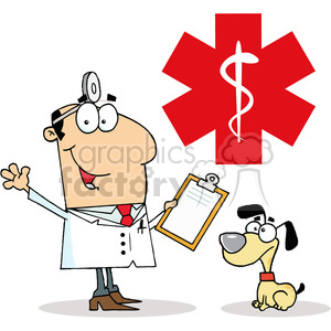 Veterinarian Man and a Dog in front of a medical symbol photo. Commercial use photo # 378135