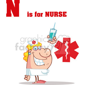A Blond Nurse With A Needle in front of a Red Cross clipart. Commercial use image # 378449
