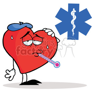 Flu Ridden Red Heart with a Thermometer in his Mouth in font of a Red Cross clipart. Royalty-free image # 378111