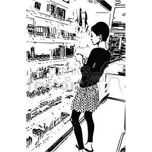 women selecting makeup from store