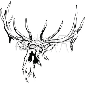 black and white Elk clipart. Commercial use image # 394987