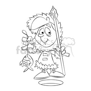 kid eskimo ice fishing black and white clipart. Royalty-free image # 395065