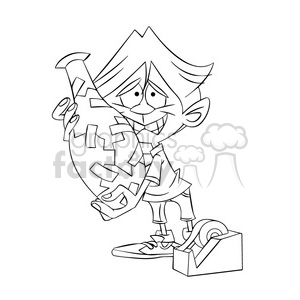 kid trying to fix a broken vase with tape black and white clipart. Royalty-free image # 395145