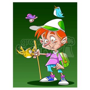 boy hiking in nature clipart. Royalty-free image # 395175