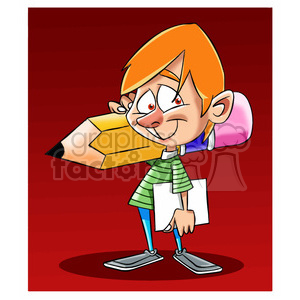 boy holding a large pencil clipart. Royalty-free image # 395225