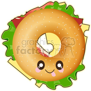 cartoon character cute illustration bagel food snack heathy sandwich