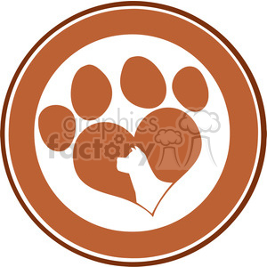 Royalty Free RF Clipart Illustration Love Paw Print Brown Circle Banner Design With Dog Head Silhouette