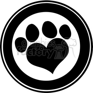 Royalty Free RF Clipart Illustration Love Paw Print Black Circle Banner Design clipart. Commercial use image # 395296
