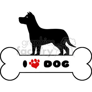 Royalty Free RF Clipart Illustration Dog Black Silhouette Over Bone With Text And Red Love Paw Print Vector Illustration Isolated On White Background clipart. Royalty-free image # 395306