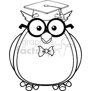 Royalty Free RF Clipart Illustration Black And White Wise Owl Teacher Cartoon Character With Glasses And Graduate Cap clipart. Commercial use image # 395326